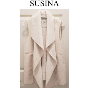 3/$25 🥂 Susina Faux Shearling/ Suede Sweater Vest